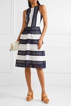 MICHAEL Michael Kors | Striped broderie anglaise cotton dress | NET-A-PORTER.COM