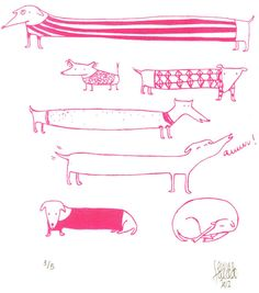 Pink Neon Dogs ScreenprintA4 by EricaSalcedo on Etsy, €18.00
