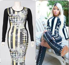 nicky minaj style midi dress, hot celebrity fashion from london shipped worldwide only £18