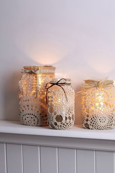 Doily covered mason jar I can play with this next week and see how it turns out
