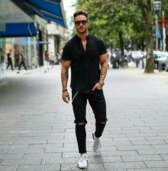 Can't wait for summer #blackjeans #blackshirt #ripped #watches #chains
