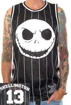 Click for Full Size Image of Nightmare Before Christmas, Basketball Jersey, Skellington