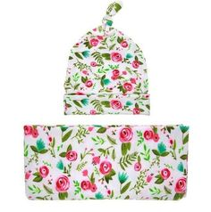 PRE ORDER - Pink & Teal Floral Newborn Swaddle Sack - Cocoon Sleep Sack -Swaddle Blanket Beanie set Newborn Hat -Take Home Outfit