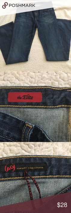 """AG Adriano Goldschmied Elite Medium Wash Jeans AG Jeans is great condition in a size 29 from the elite line. They are a medium wash with some whiskering  down the thigh. Not very noticeable. The back pockets have a drown strict heat design and a leather brand Tag at the waist.  Sz29r Length: 44"""" from the waist  Waist :17""""  Inseam:33 1/2 Ag Adriano Goldschmied Jeans Boot Cut"""