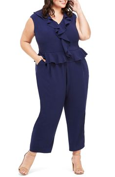 Shop a great selection of Maggy London Ruffle Peplum Ankle Jumpsuit (Plus Size). Find new offer and Similar products for Maggy London Ruffle Peplum Ankle Jumpsuit (Plus Size). Plus Size Jumpsuit, Jumpsuit With Sleeves, Dresses With Sleeves, Curvy Plus Size, Plus Size Women, Silk Midi Dress, Peplum Dress, Plus Size Dresses, Plus Size Outfits