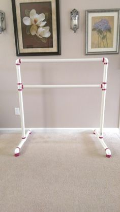 """DIY Ballet barre from PVC pipe Under $30!! All you need is two 10'x 1.25"""" PVC pipes cut into 6 x 10"""", 2 x 26"""", 2 x 40"""" 6 elbow connectors and 4 T - connectors I added decorative Duct tape for a special touch! =) Easy and took less than 30 min to assemble!"""