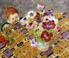 Curiosite (also known as Child in a Hat) Henri Lebasque - circa 1913-1914 oil on canvas