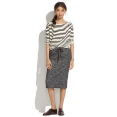 "Host Pick⭐️ Madewell Game Plan Skirt A sporty-cool drawstring waist. A lean, stretchy shape. A just-below-the-knee length. Perfect. •Midlength pencil. •26"" long. •Cotton/wool/nylon. •Dry clean. Madewell Skirts Pencil"