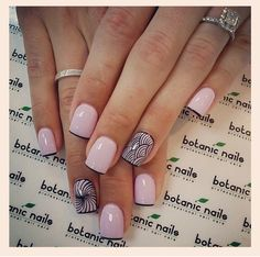 Nude pink and black French manicure nails. Get Nails, Love Nails, Pink Nails, How To Do Nails, Black Nails, Girls Nails, Fabulous Nails, Gorgeous Nails, Pretty Nails
