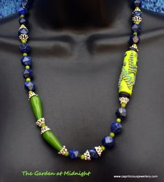 The Garden at Midnight - a lapis lazuli, peridot and polymer clay necklace made by Caprilicious Jewellery