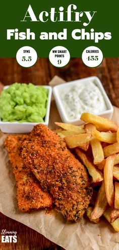 Tefal Actifry Fish and Chips - a healthier take on this classic British takeaway dish complete with tartare sauce. Slimming World and Weight Watchers friendly Actifry Recipes Slimming World, Air Fryer Recipes Slimming World, Slimming World Fakeaway, Slimming Recipes, Tefal Actifry, Healthy Eating Tips, Healthy Breakfast Recipes, Healthy Recipes, Ww Recipes