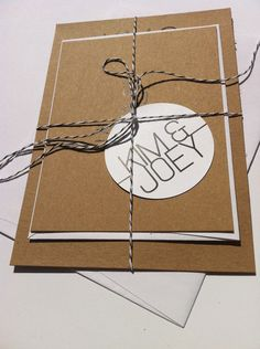 Modern meets Rustic-Wedding Invitations, rsvp card, twine and tag. $4.00, via Etsy.