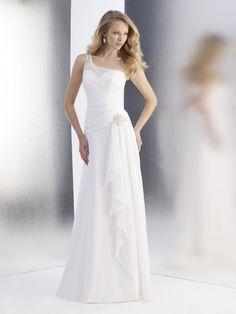 A-line One Shoulder Ruched Bodice Beaded Accent Ruffling Chiffon Wedding Dress-wa0288, $220.95