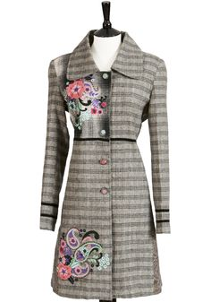 Embroidered patch work coat