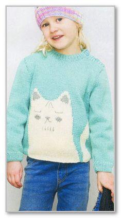 Вязание спицами. Пуловер с узором Кошка в технике интарсия, и застежкой на плече. Размер: на 2/3 (4/5) 6/7 (8/9) 10/11 лет