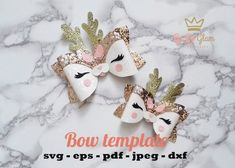 Set of templates for SVG bows / Templates for cutting bows / DIY autumn bows / Glitter bows for cutting in cricut / bow pattern - - Making Hair Bows, Diy Hair Bows, Diy Bow, Ribbon Hair, Animal Bows, Animal Templates, Halloween Bows, Bow Template, Christmas Hair Bows