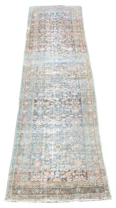 "Antique Malayer Blue and Rust Rug Dimensions: 3'5"" x 13' Hand Made in Turkey *All Vintage Rugs in Great condition*"