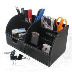 5-slot  desktop leather stationery set pen pencil holder box case note namecard holder storage box A259 | #WoodenStorageBoxes