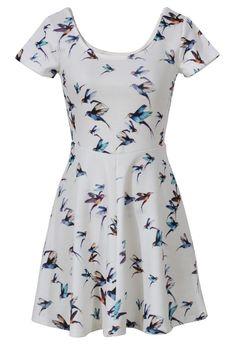 4f44bbe0b8 Cool Birds Print Skater Dress in White - Dress - Retro