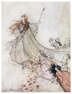 … Fairies away! We shall chide downright, if I longer stay.    Arthur Rackham, from A Midsummer-Night's Dream, by William Shakespeare, London, New York, 1908.