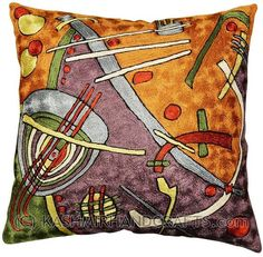"Miro-Escape-Decorative-pillow-cover-Orange-Purple-accent-cushion. Abstracted from Joan Miro's portfolio ""Constellations,"" this art silk embroidery piece has elements of his ""Awakening in the Early Morning."" These accomplished Kashmiri handcrafters produce the finest quality chain-stitch embroidery in the world. This article was designed and handcrafted in a cottage industry which spans the whole village from the hand-dyed thread to the finished product."