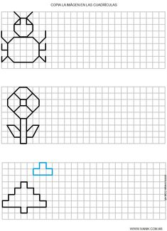 Dibujo 10 Graph Paper Drawings, Graph Paper Art, Symmetry Worksheets, Vocational Tasks, Math Patterns, Blackwork Embroidery, School Worksheets, Puzzles For Kids, Kindergarten Math