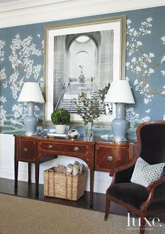 Grey-Blue Gracie Wallpaer, antique English sideboard.  Susan Bodnar Long Design via The Foo Dog Ate My Homework.