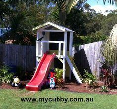 A My Cubby Fort. #Fort #ImaginationPlay #PlayIdeas #Backyard #outdoorplay #play #kids #healthykids #Slide #sandpit #garden #Activekids #ChristmasPresent