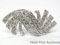 Approx 2ctw Ultra Fine Diamond 14k White Gold Art Deco Vintage Shoulder Pin