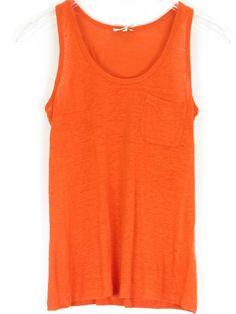 34fbc4fac JOIE Women Orange Sleeveless Mild Sheer Front Pocket Tank Top Shirt Size M