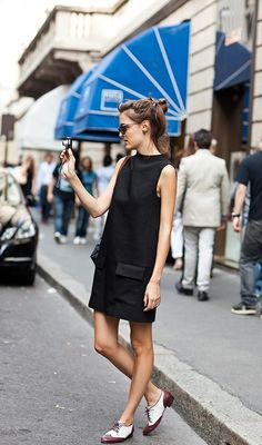 Black dress & two tone shoes. Conveniently Casual or Dressy  2013 Spring & Summer Fashion Trends.