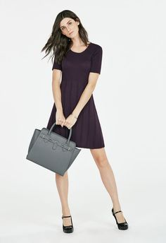 Fit And Flare Sweater Dress in Deep Plum - Get great deals at JustFab