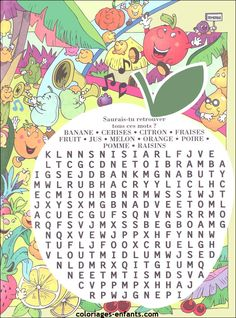 colorful printable fruits & veggies word search in French