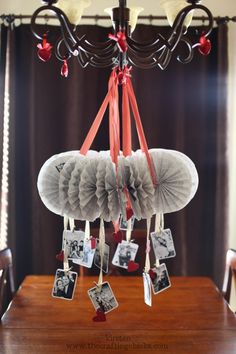 A wonderful and cute way to celebrat valentines with your kids and family by making and hanging this over the table.