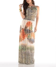 Another great find on #zulily! Orange Abstract Medallion Maxi Dress by Shoreline #zulilyfinds