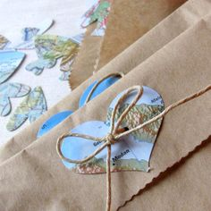 Confetti-filled favor bags (10) repurposed map - travel theme - bon voyage on Etsy, $25.00