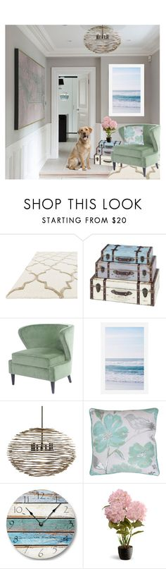 """""""Beachy"""" by smilepapersdecor ❤ liked on Polyvore featuring interior, interiors, interior design, home, home decor, interior decorating, Pottery Barn, Arteriors, Thro and National Tree Company"""