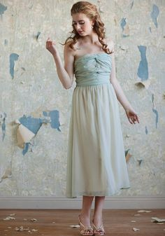 Orchid dress in Mint with touch of gold from Ruche Tea Length Dresses, Blue Dresses, Vintage Bridesmaid Dresses, Wedding Dresses, Gold Bridesmaids, Ruched Dress, Strapless Dress Formal, Vintage Inspired Fashion, Vintage Bridal