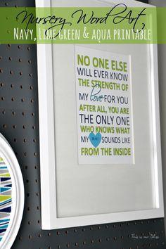 CUSTOM Nursery Word Art Printable - No one else.heart from the inside - Baby gift - nursery decor - wall art/gallery wall print - custom by ThisisourBliss on Etsy Baby Room Art, Baby Room Decor, Nursery Decor, Baby Rooms, Nursery Ideas, Basement Paint Colors, Painting Carpet, Basement Carpet, Statement Wall