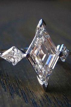 Spectacular Art Deco style lozenge cut diamond engagement ring, from Doyle Deco Engagement Ring, Vintage Engagement Rings, Vintage Rings, Diamond Engagement Rings, Wedding Engagement, Bijoux Art Deco, Art Deco Jewelry, Fine Jewelry, Jewellery Box