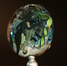 mermaid tab bead with black decal handmade glass von CorneliaLentze, $31.00