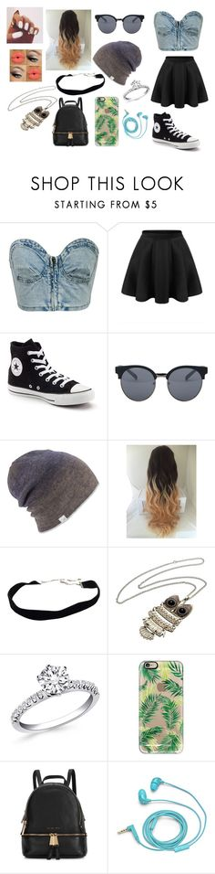 """cute lay back"" by kennajayce on Polyvore featuring Chicnova Fashion, Converse, Quay, Coal, Casetify, Michael Kors and FOSSIL"