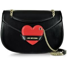 Love Moschino Large Black&Red Eco Leather Shoulder Strap w/Heart ($275) ❤ liked on Polyvore featuring bags, handbags, shoulder bags, saddle bags, love moschino purse, chain purse, red purse and heart shaped purse