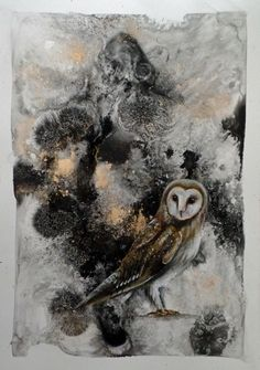 """This little owl is all done and looking for a home. """"Silence is Golden"""" (featuring Chester the owl) Ink, epsom salts, gold pigment, potassium permanganate and acrylic on watercolour paper x DM me if you would like to find out more 😊 Abstract Expressionism, Abstract Art, Silence Is Golden, Mixed Media Techniques, Little Owl, Figurative Art, Watercolor Paper, Paper Art, Contemporary Art"""