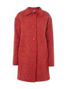 Mantel mit Fischgratmuster Rot - 1
