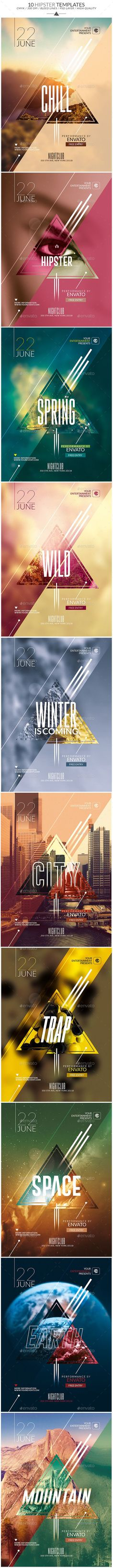 Bundle - 10 Minimal Hipster Party Flyers Template, Clean, Very easy to Edit and Creative Design perfect to promote your Event ! Web Design, Layout Design, Flyer Design, Creative Design, Design Art, Print Design, Creative Flyers, Design Ideas, Design Trends