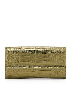 Crocodile Relever Gonzalez Pochette Mince De Cadre, Miroir Anthracite