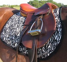 Cream & Black Zebra print English Saddle Pad by BidasHorseWares, $55.00