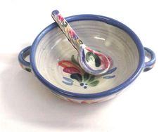 Glazed Ceramic Soup Bowl and Sppon Lead Free Dishwasher Microwave Safe Blue #Unbranded