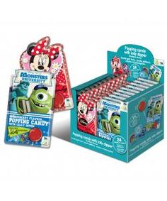 Strawberry flavoured popping candy with lolly dipper. Also includes a sticker.  Choose from Minnie Mouse or Monsters University  Perfect party bag filler.